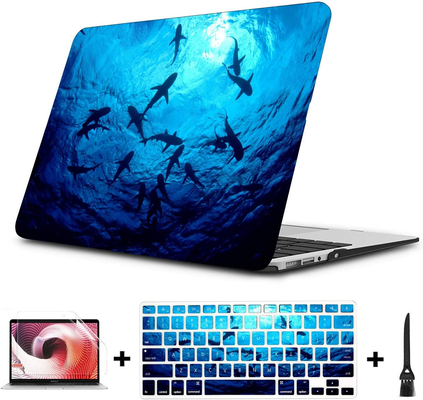 """Laptop Protector Case Ocean Sharks Plastic Hard Shell Compatible Mac Air 11"""" Pro 13"""" 15"""" Air Case Protection for MacBook 2016-2019 Version"""