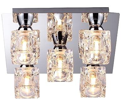 Moderne Lampen 5 : Moderne chrom glaswürfel deckenleuchte mit 5 lampen 5 x 33 w
