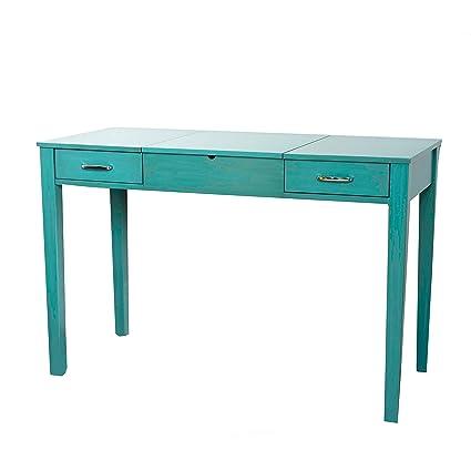 Svitlife Haven Home Ainsley Turquoise Vanity Desk With Mirror Vanity Desk  Mirror Antique Mahogany 1920s 1930s