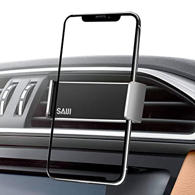 Saiji Air Vent Car Mount, More Secured Dual Clamp Grip, 360° Rotation Car Holder, Universal Cell Phone Holder Compatible with 4.7-6 Inch iPhone, Samsung, Nexus, Nokia, LG, Sony Smartphones (Silver)