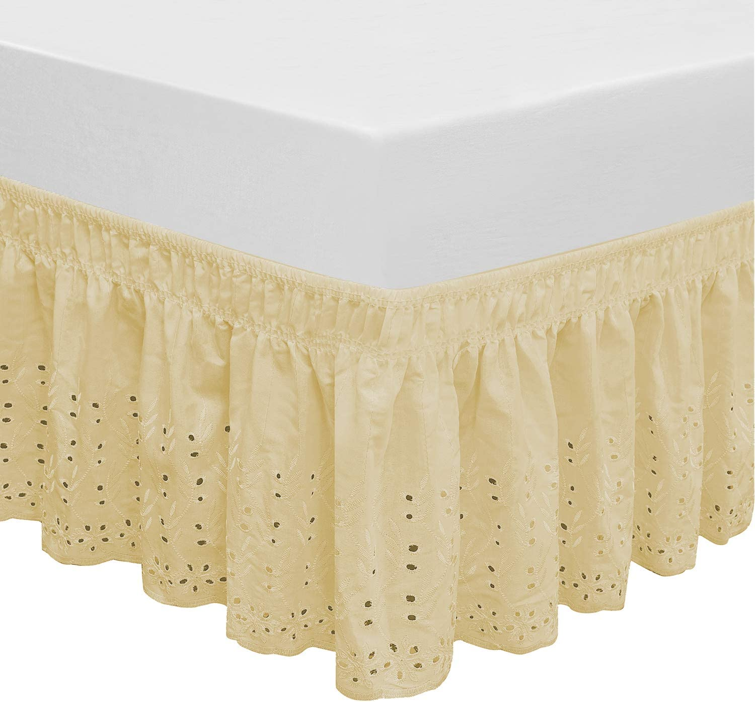 1 PIECE MICROFIBER SOLID BED RUFFLE SKIRT 14 INCH DROP SIZE FULL DARK GOLD