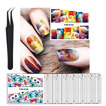Amazon.com: WOKOTO 50Pcs Nail Art Water Decals Vintage Flowers Oil ...