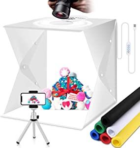 Photography Light Box Photo Studio Kit 3 Color Lighting Tent 160 LED Portable White Booth Display Product Food/Jewelry with Mini Tripod & 6 Background(16x16 inch)