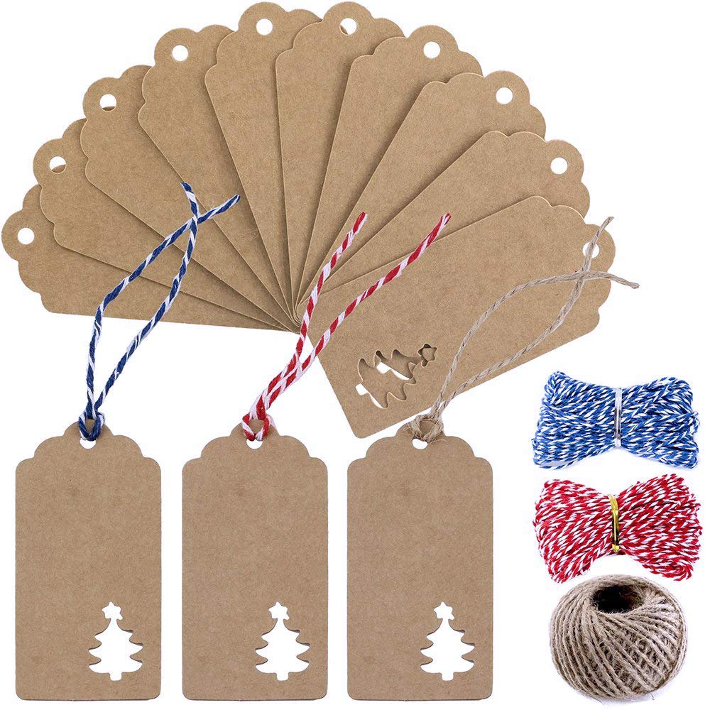 Supla 100 Pcs Favor Tags Gift Tags Table Name Tags Place Card Blank Christmas Hang Tags Kraft Paper Tags Thank You Tags with Natural Jute Twine Blue Red Twine 4336879518