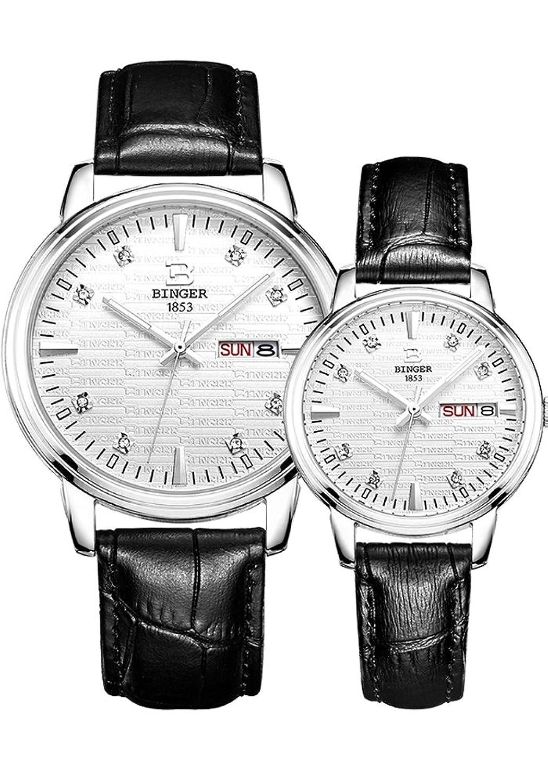 Binger Paar-Quarz-Uhr mit Silber strukturierte Zifferblatt und Lederarmband fÜr Frauen der MÄnner (Silber)