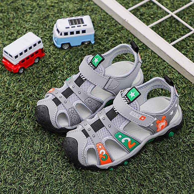 ❤️Rolayllove❤️ 4-14years Little Kid//Big Kid Boys Girls Leather Closed Toe Outdoor Sport Sandals Sneaker Water Shoes