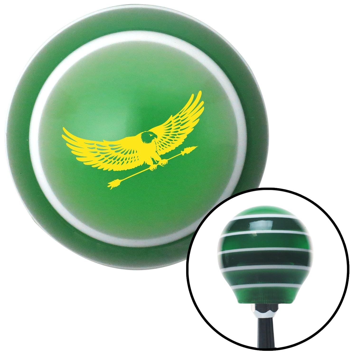 Yellow Eagle with Arrow American Shifter 125041 Green Stripe Shift Knob with M16 x 1.5 Insert