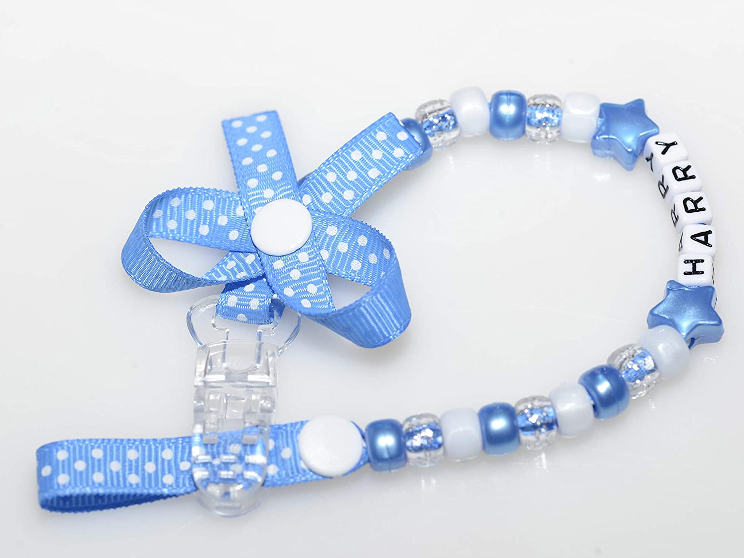 Baby Boy by Polka Dot Ribbon with Bow Without Bow Any Name with Many Colours Personalised Dummy Clips for Baby Girl Hot Pink, with Bow