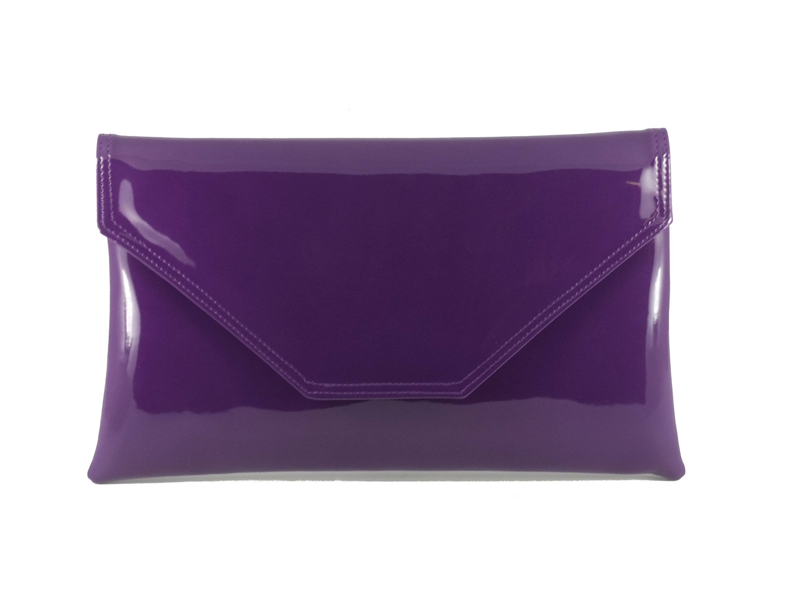 Loni Womens Stylish Large Envelope Patent Clutch Bag/Shoulder Bag Wedding Party Prom Bag In Purple
