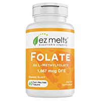 EZ Melts Folate as L-5-Methylfolate, 1,667 mcg DFE, Sublingual Vitamins, Vegan,...