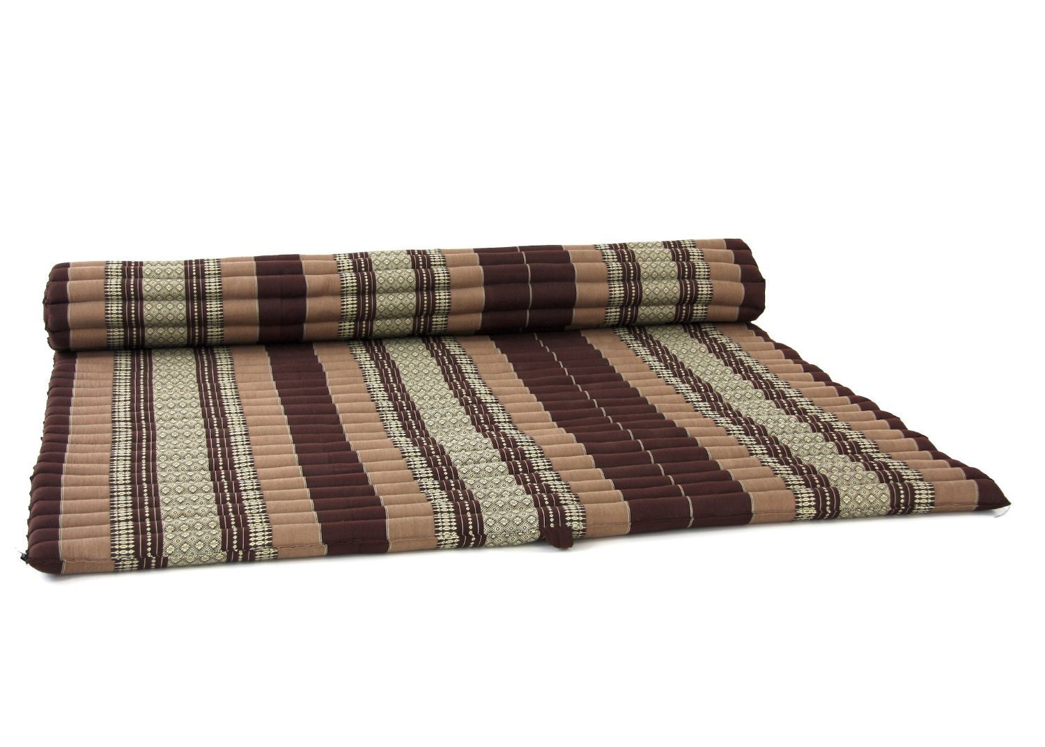 Design by UnseenThailand Roll Up Thai Mattress, Kapok Fabric, Premium Double Stitched, 79x63x2 inches. (Brown - Cream) by UnseenThailand Warehouse