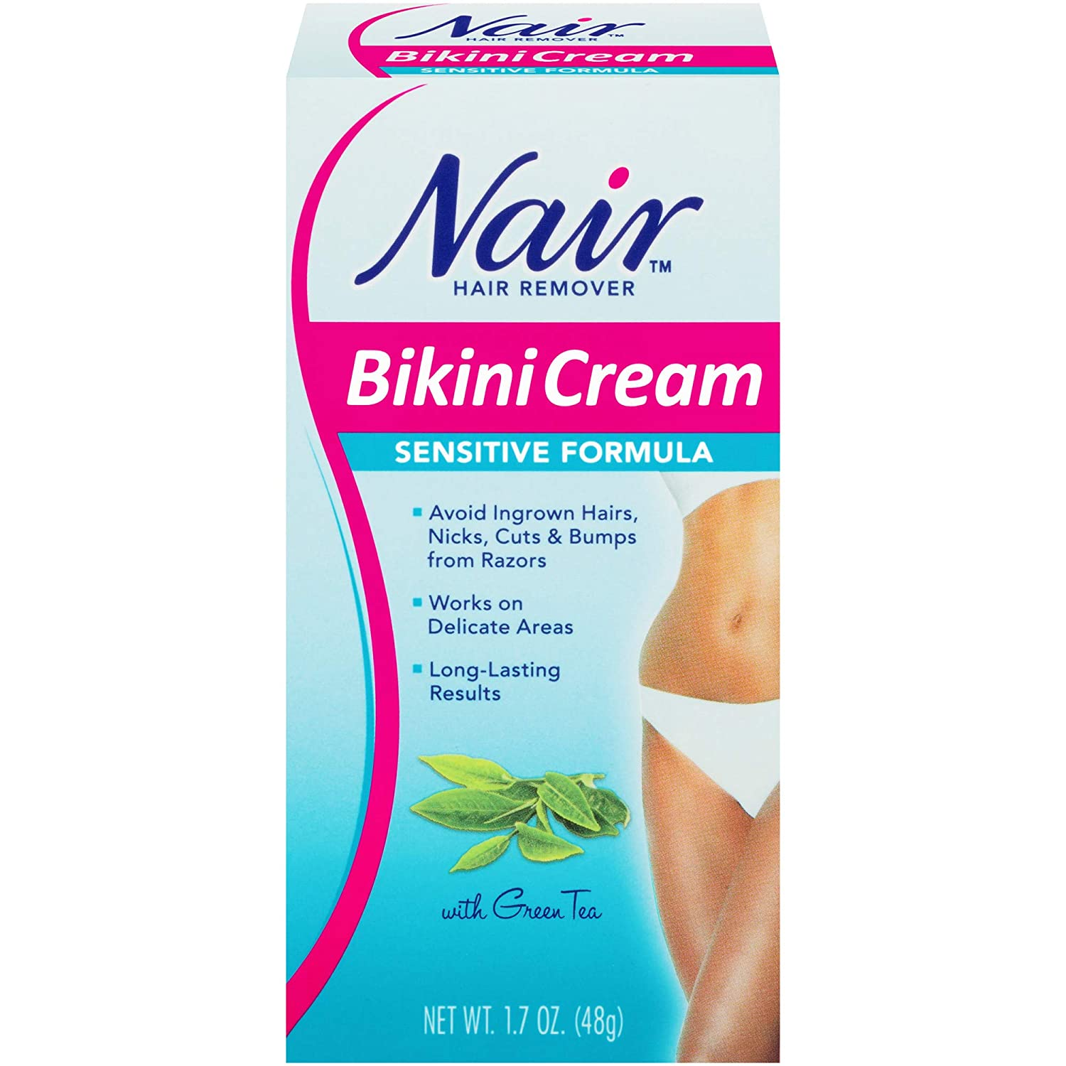 Sensitive Formula Bikini Cream with Green Tea Hair Remover by Nair, 1.7 Ounce