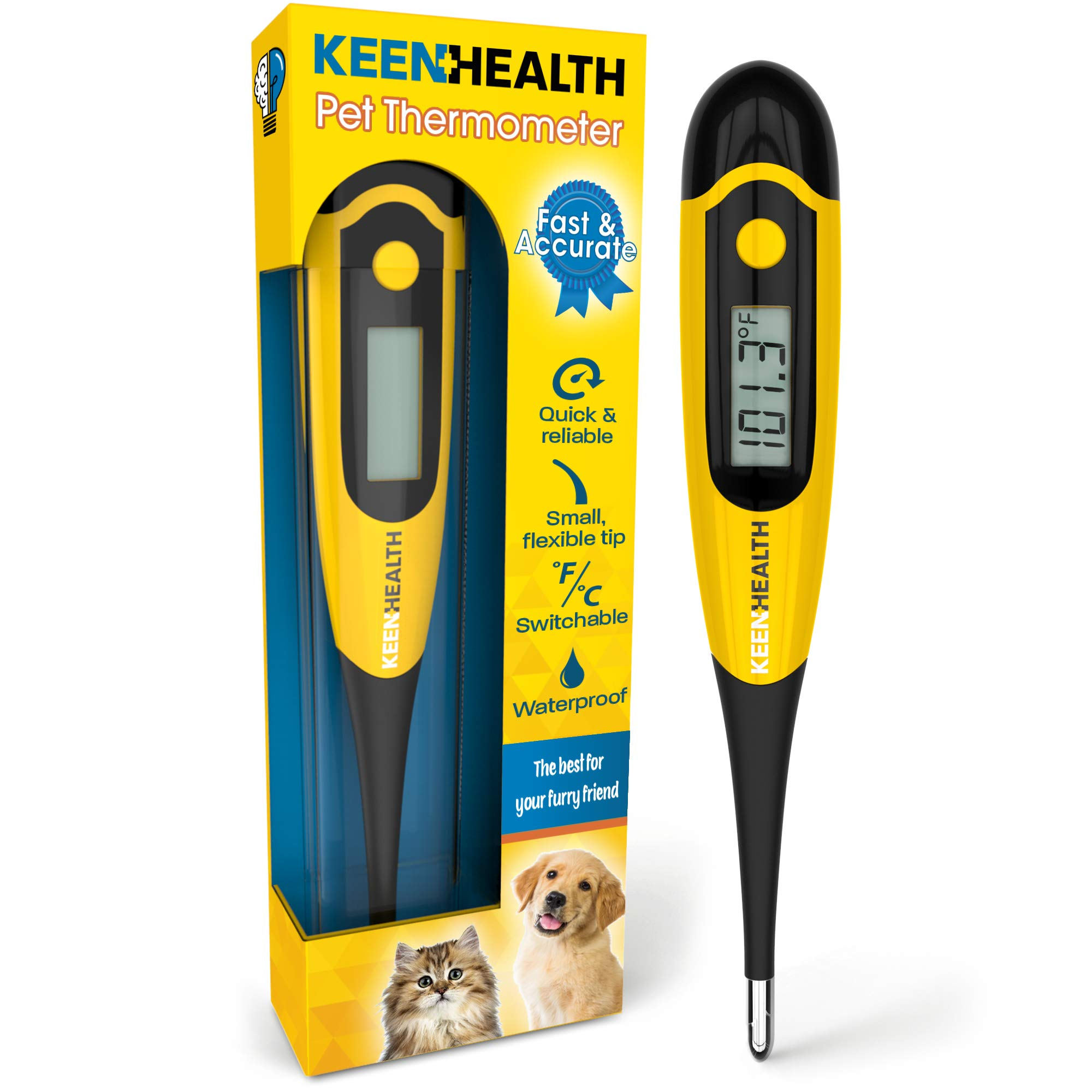 Keenhealth Digital Pet Thermometer for Rectal Use - Dogs, Cats, and Other Small Pets - Dog Thermometer - Fast and Accurate - Waterproof for Hygienic Cleaning - Cat Thermometer Pet Thermometer by Keenhealth