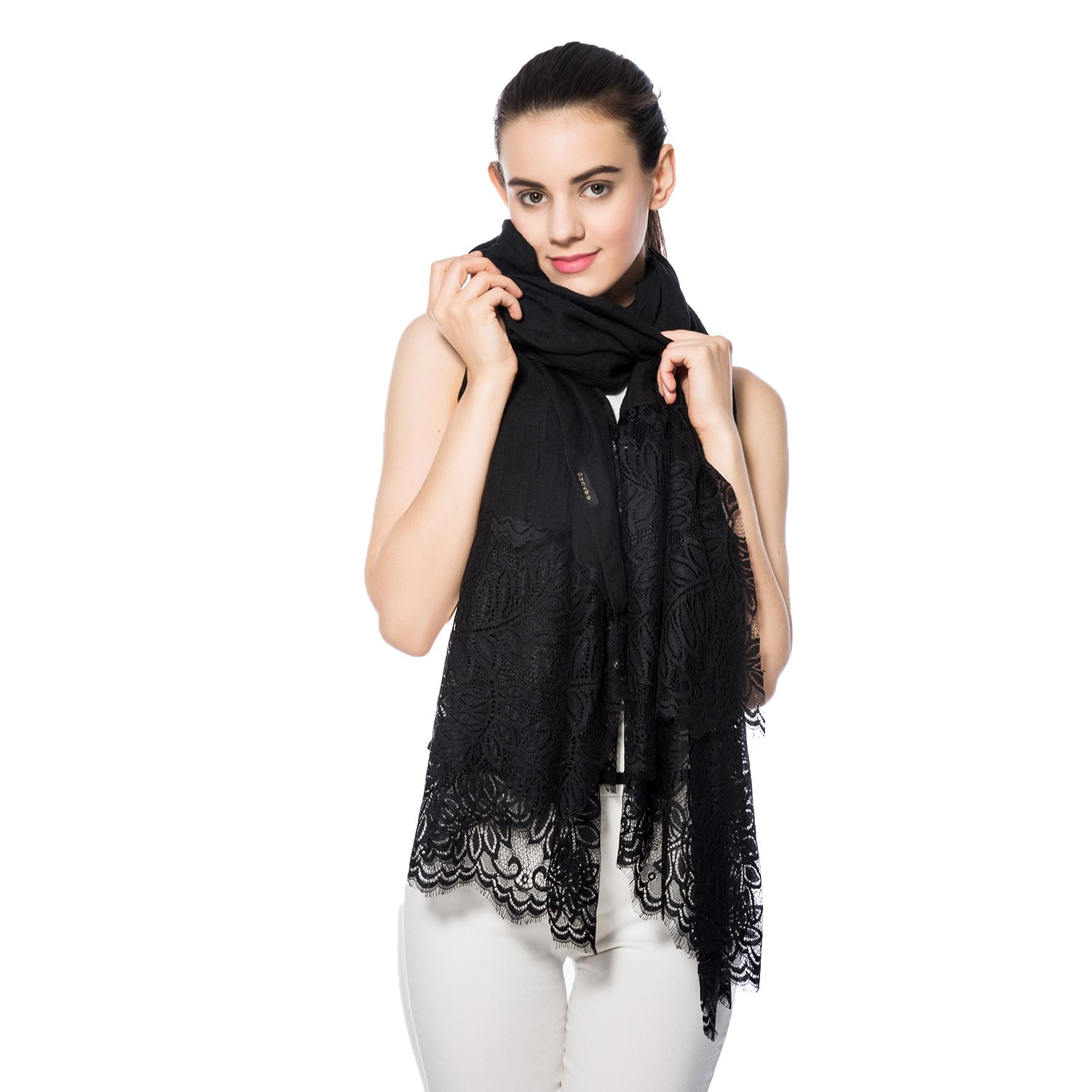 Women Lightweight Fashion Lace Scarf Winter Wrap Shawl Gzcvba Soft Evening Coverup (Black)