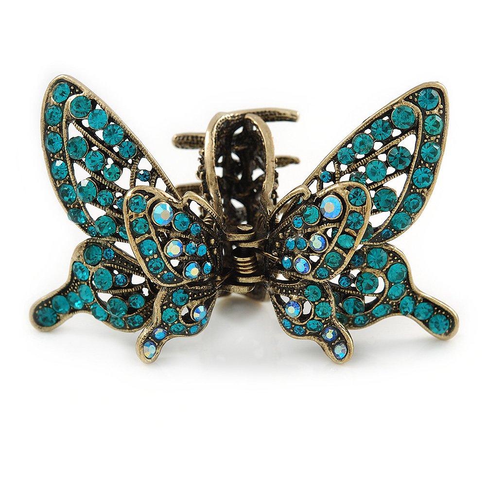 Inspiration vintage Bleu sarcelle Cristal Papillon avec ailes de griffe de cheveux en ton doré antique–85mm de diamètre Avalaya