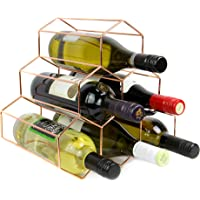 Rose Gold Wine Rack | 6 Bottle Free Standing Wine Shelf | Hexagon Modern Design | Wine shelf cabinet | M&W