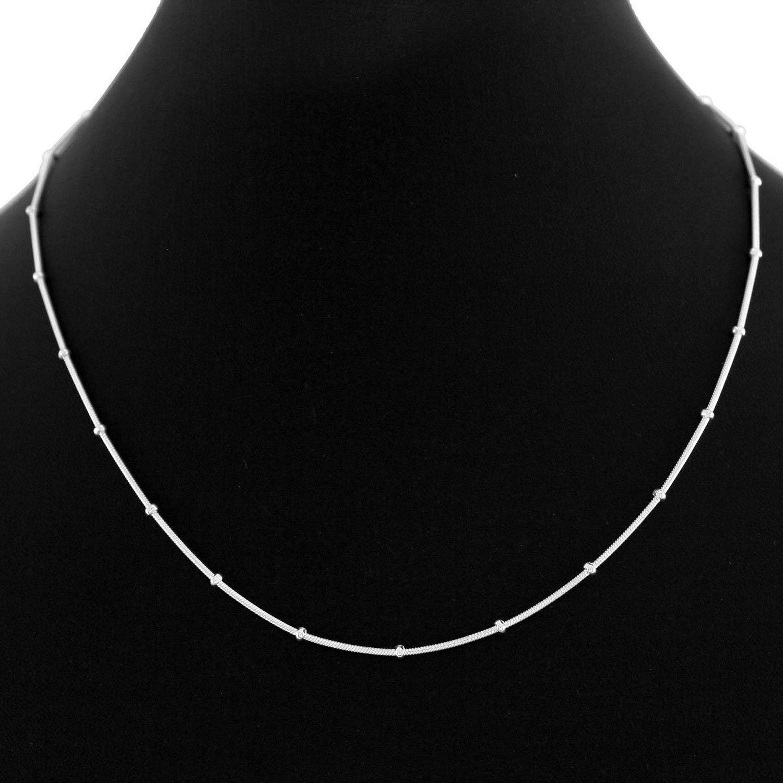 Buy Eloish Sterling Silver Sleek Chain. Pure 925 Silk Ball Thin ...