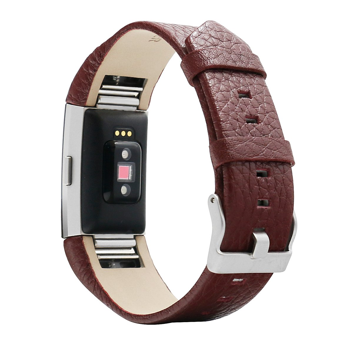 BONSTRAP For Fitbit Charge 2 Watch Genuine Cow Leather Watch Band Watch Strap Pin Buckle Replacement Wristband Brown