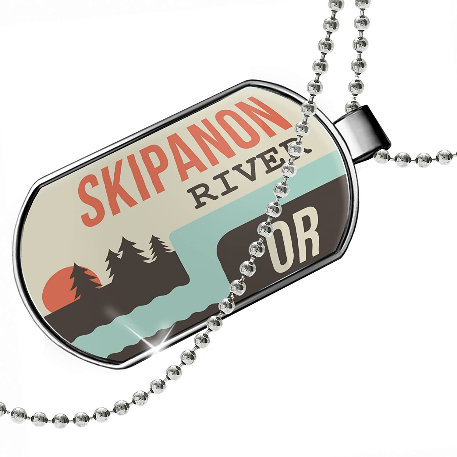 Oregon Dogtag Necklace NEONBLOND Personalized Name Engraved USA Rivers Skipanon River