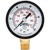 Winters PEM Series Steel Dual Scale Economical All Purpose Pressure Gauge with Brass Internals, 0-100 psi/kpa, 2' Dial…