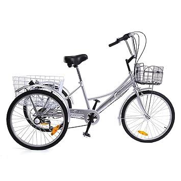 """iglobalbuy 24 """"6 velocidad 3 Rueda adultos triciclo Triciclo Bicicleta crucero ciclismo bicicleta con"""