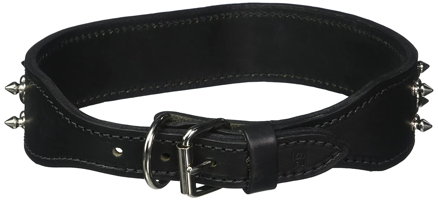 OmniPet Spiked & Studded Latigo Leather Pet Collar, 2  x 29 , Black