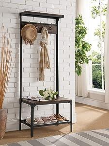 K & B Furniture CR2776 Antique Walnut Metal & Wood Hall Tree