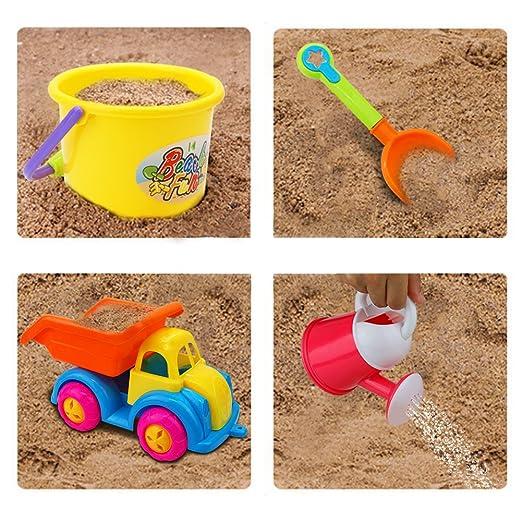 Nuheby Beach Toys 9pcs Beach Set include Bucket Shovel Rake Dump ...