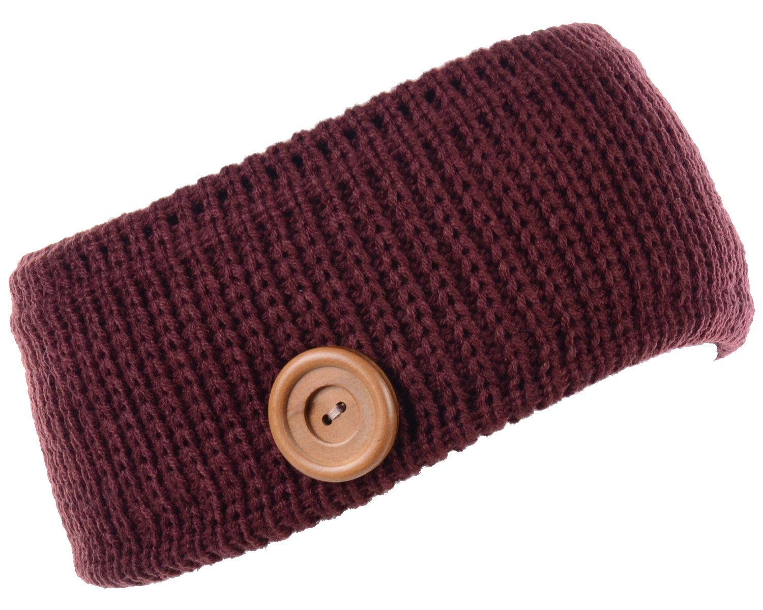 BYOS Winter Warm Plush Fleece Lined Knit Headband Hair Wrap Ear Warmer,Many Styles (Rib Knit W/Button Burgundy) by Be Your Own Style