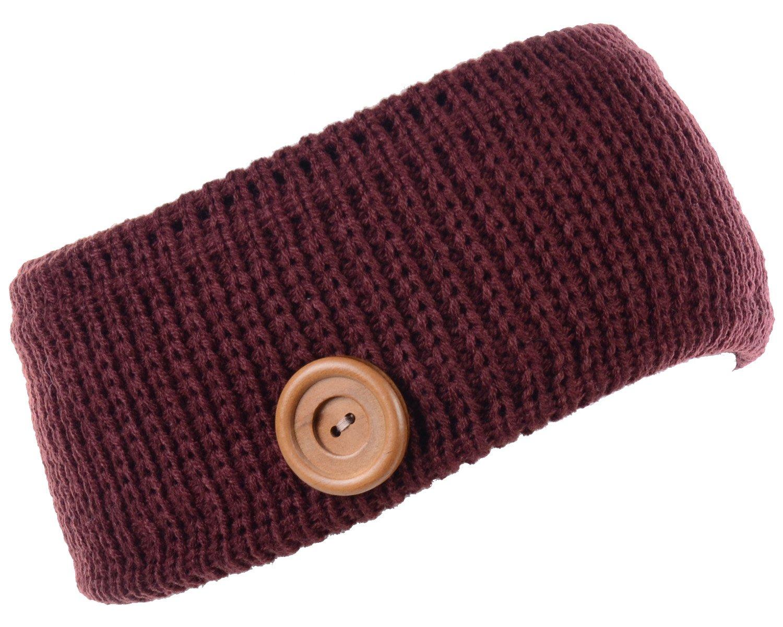 BYOS Winter Warm Plush Fleece Lined Knit Headband Hair Wrap Ear Warmer,Many Styles (Rib Knit W/Button Burgundy)