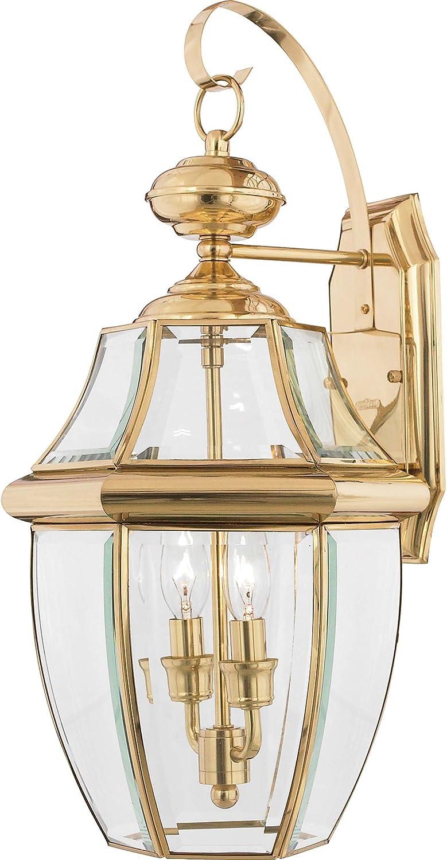 Quoizel Ny8317b Newbury Outdoor Wall Lantern Wall Mount Lighting 2 Light 120 Watts Polished Brass 20 H X 11 W Wall Porch Lights