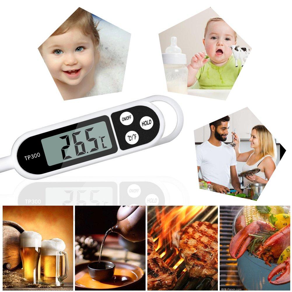/écran LCD id/éal pour la cuisine Wei/ß protection anti-corrosion lecture instantan/ée Thermom/ètre de cuisine num/érique Nasharia thermom/ètre de cuisine avec longue sonde