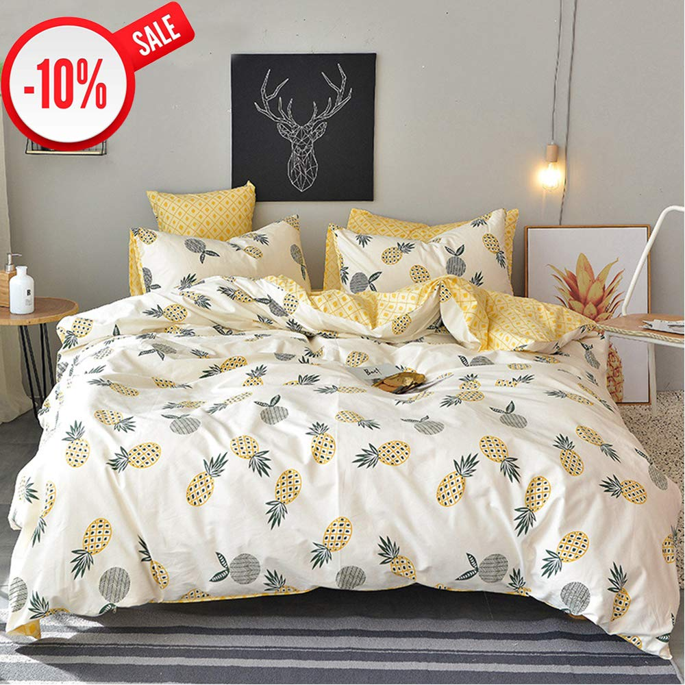 CLOTHKNOW Pineapple Duvet Cover Set Cotton Queen for Kids Girls Boys White Yellow Bedding Sets Reversible Floral Fruit Comforter Cover Sets with Zipper Closure 2 Standard Envelope Pillowcases