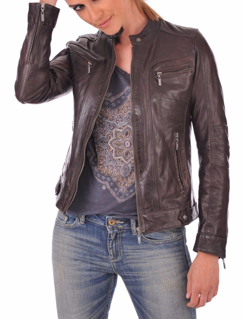 Leather Planet Women's Lambskin Leather Bomber Biker Jacket Small Brown