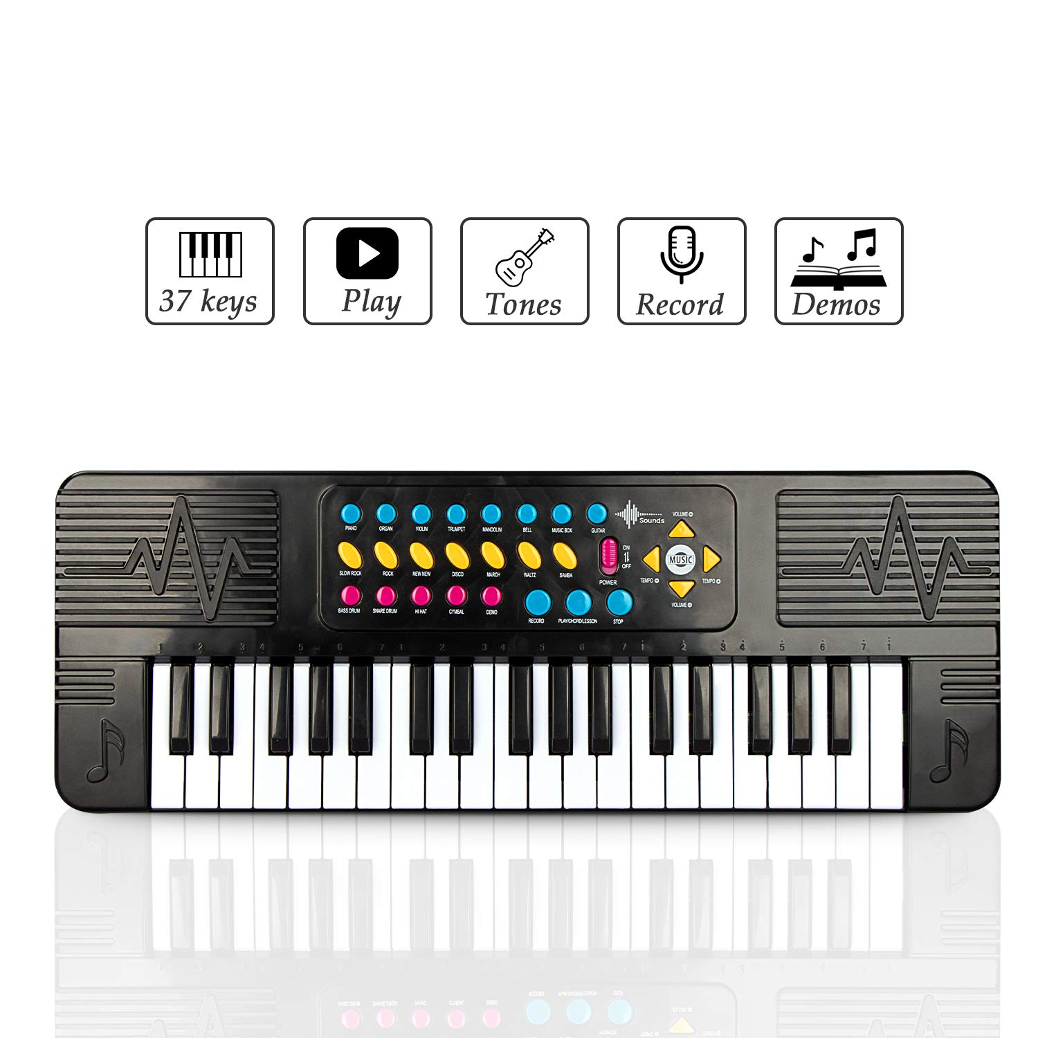 SAOCOOL Piano for Kids , 37 Keys Kids Piano Keyboard Multi-Function Electronic Organ Musical Keyboard Learning Educational Toy for You Children (Black)