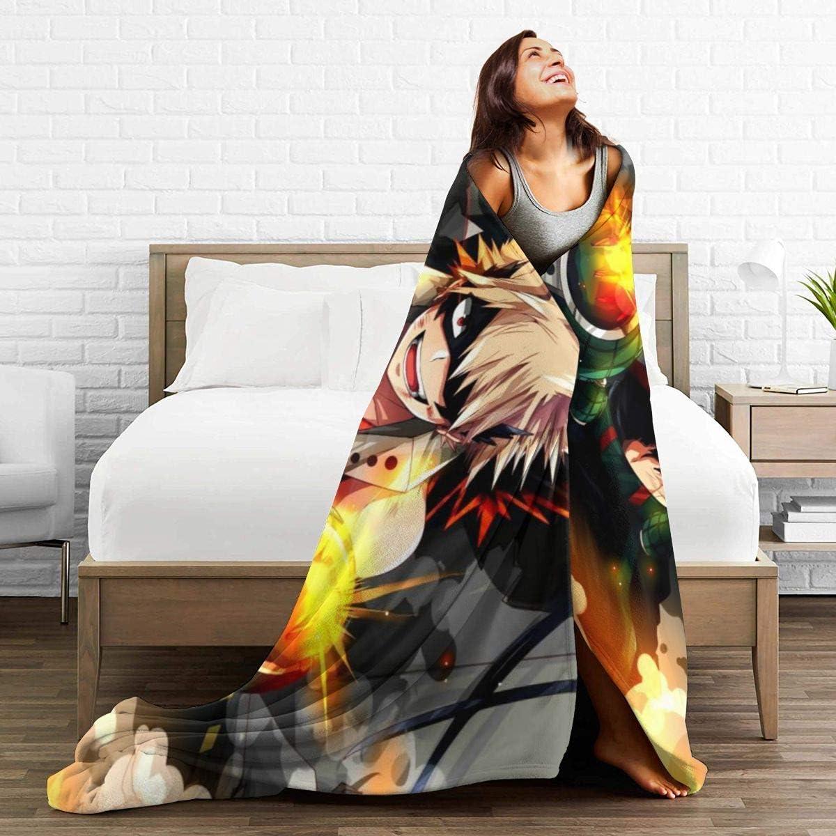 Ultra Soft Anime HeroAca Bnha Bakugou Katsuki Blasting Poster Decorative Blanket Thick Better Sleep Engshi Coperte e trapunte Flannel Fleece Throw Blanket for Winter Work Yoga