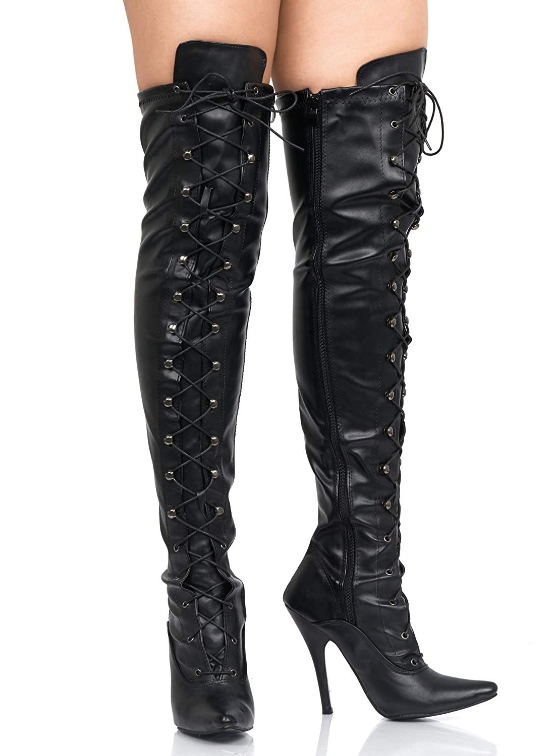 f7006e8b79ac Mens Black Over The Knee Thigh HIGH Sexy Stiletto Heel Fetish Kinky Boots  Size 9 10 11 12 Various Designs  Amazon.co.uk  Shoes   Bags