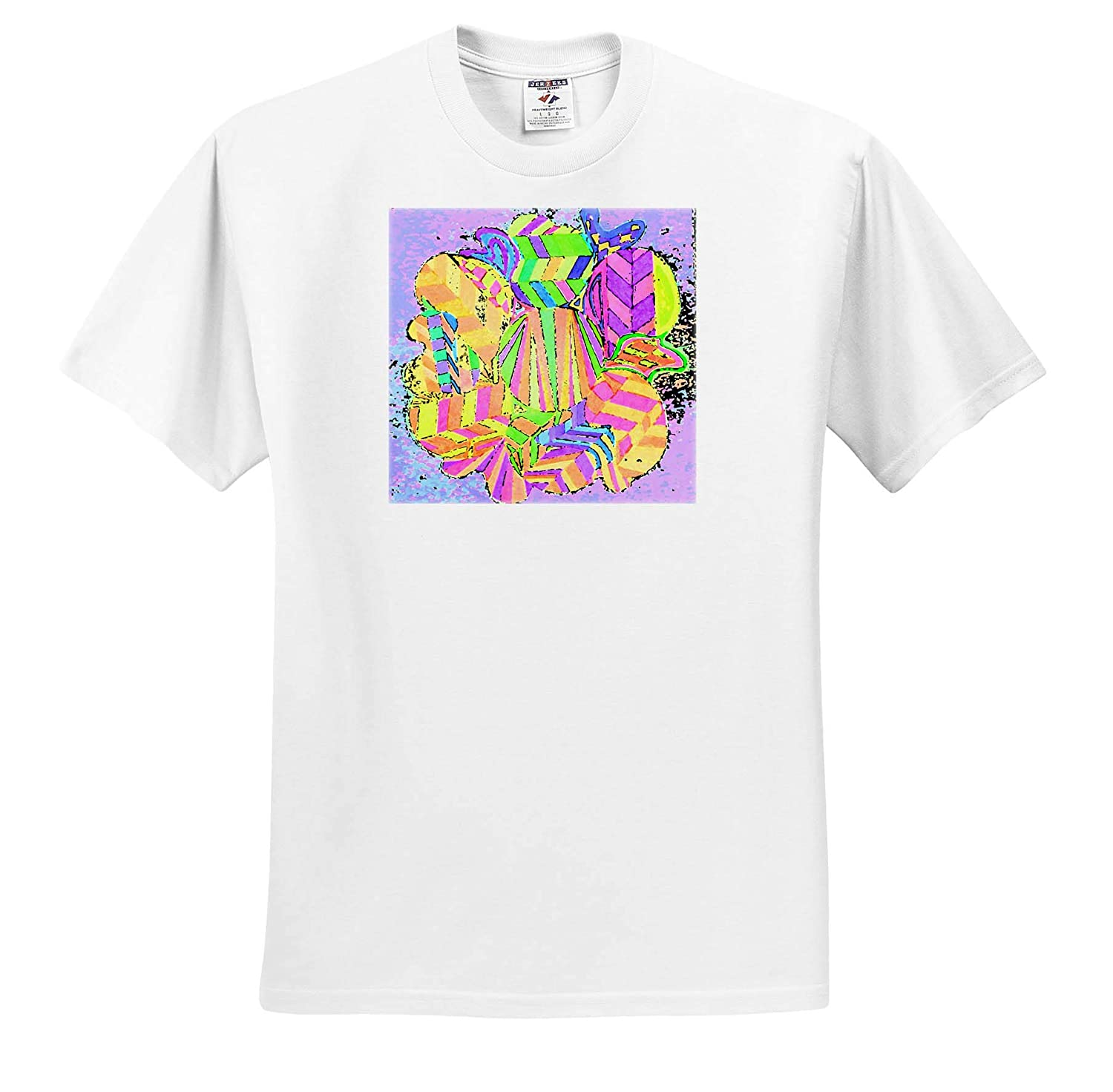 A Bright Colored Sketch with a Lilac Background Drawn by Jos Original Sketch by Jos T-Shirts 3dRose Jos Fauxtographee