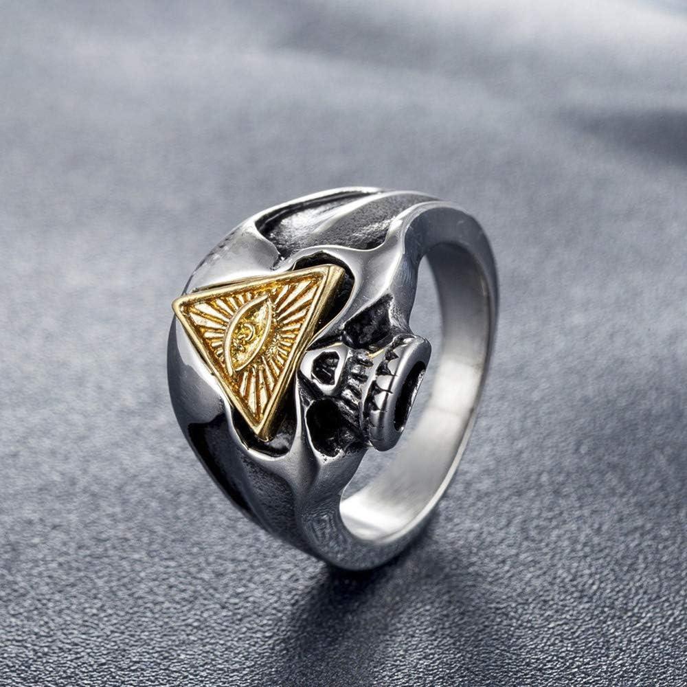 Sping Jewelry Illuminati Halo Anillo de Ojo de pir/ámide con s/ímbolo de Calavera de Acero de Titanio para Hombres