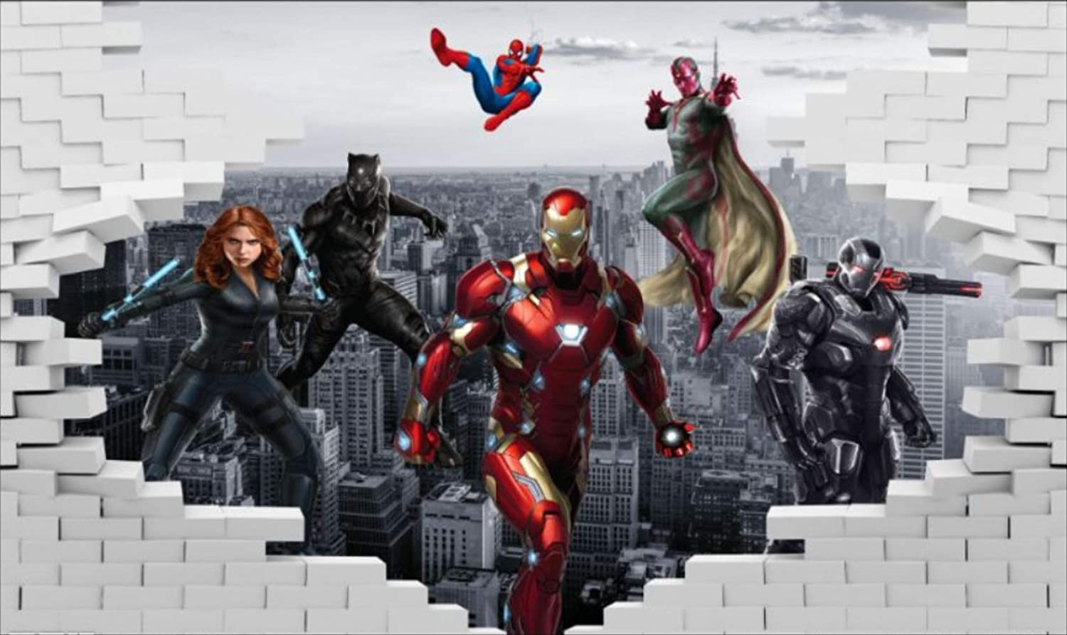 Amazon.com: Mural Wallpaper Avengers Photo Marvel Wallpaper hd 3D Broken  Wall City New York Marvel Black Widow Phantom War Machine Black Panther  Spider-Man Wall Mural BoyRestaurant bar Bedroom Living Room Designe: Home