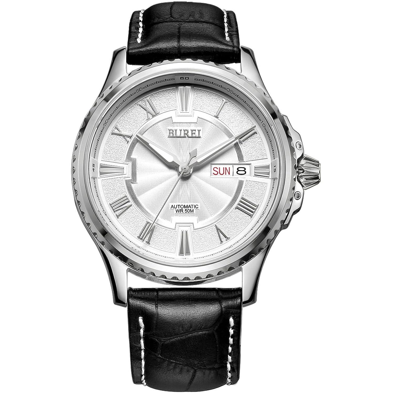 Burei® Tag und Datum Display Japanische Automatische Analog Armbanduhr mit Rindsleder Leder Gurt