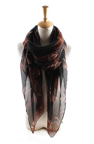 08ab6d898 Pickin lotus print scarf scarf turban silk scarf gift shawl female, black,  90180 at Amazon Women's Clothing store: