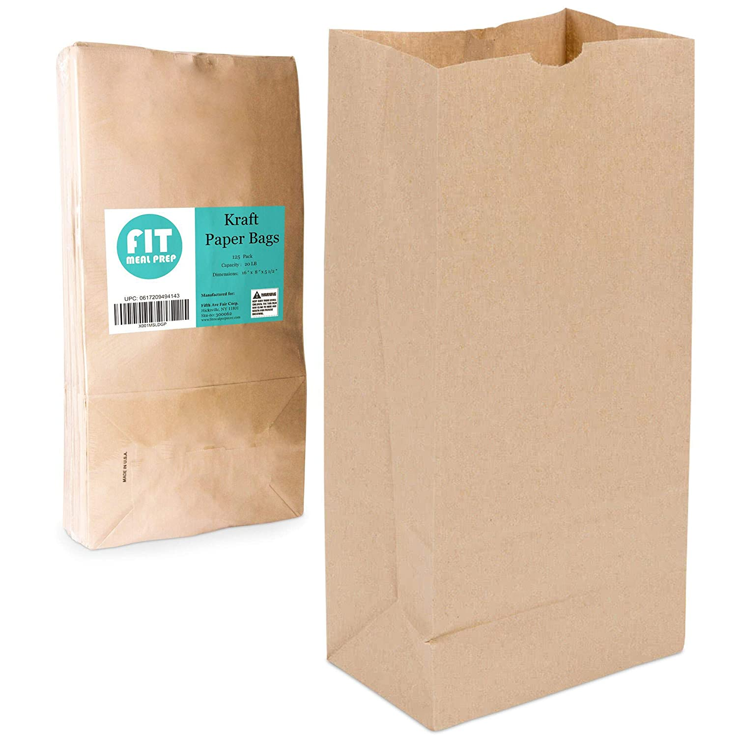 [125 Pack] Heavy Duty Kraft Paper Bags 16 x 8 x 5.5 20 LB Grocery Lunch Retail Shopping Durable Natural Brown Barrel Sack