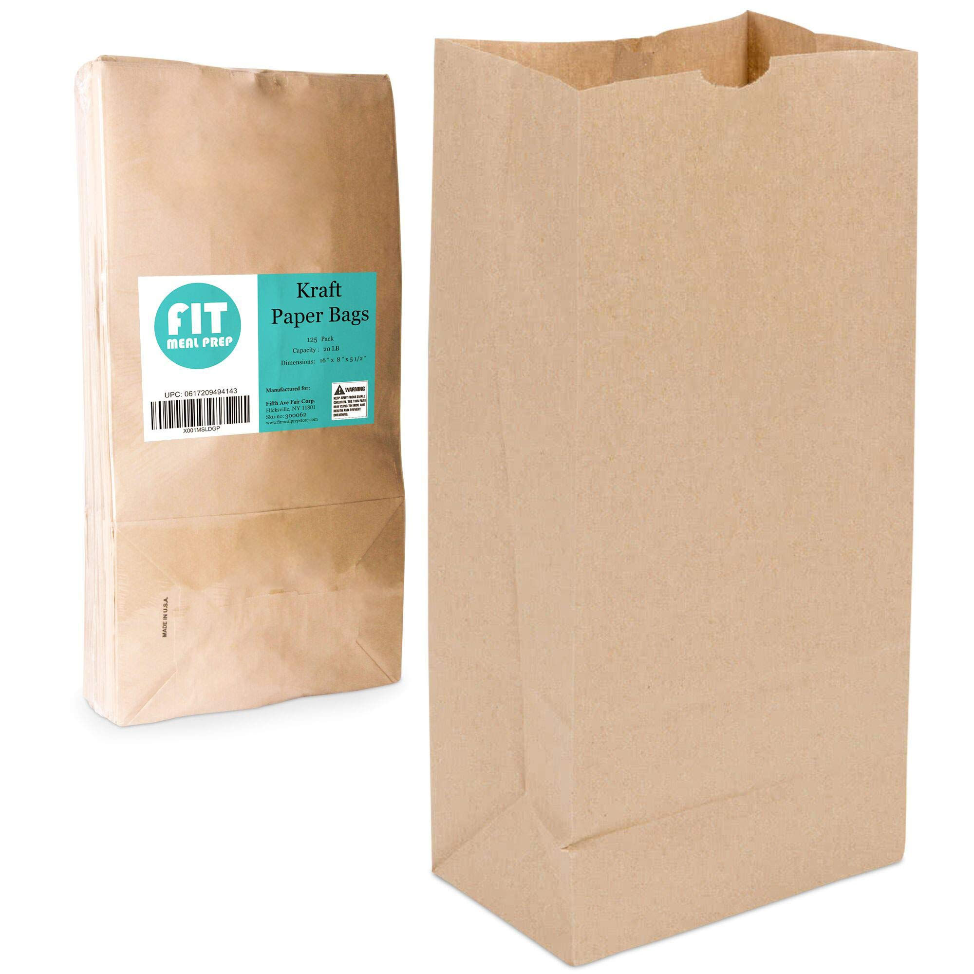 [125 Pack] Heavy Duty Kraft Paper Bags 16 x 8 x 5.5 20 LB Grocery Lunch Retail Shopping Durable Natural Brown Barrel Sack by Fit Meal Prep