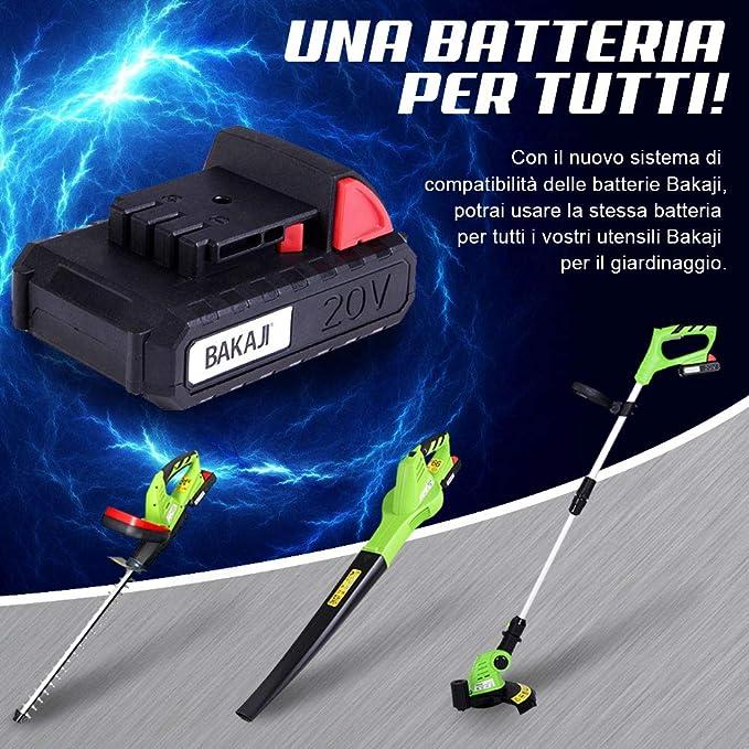 BAKAJI 2832158 - Desbrozadora eléctrica a batería Recargable ...