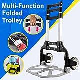 tinkertonk 80Kg Heavy Duty Aluminum Folding Foldable Hand Trolley Luggage Wheel Sack Trolley Cart Industrial Warehouse Truck