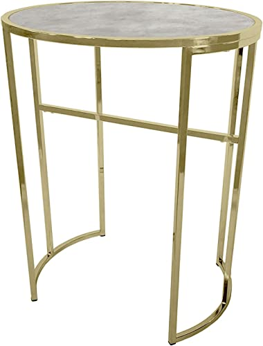 Bombay D2024TR1015 LULU Bistro Table, 30 Inch High, Clear, White, Gold