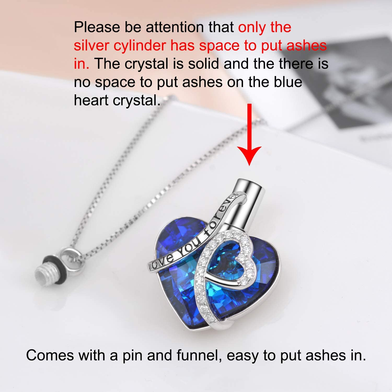 ANAZOZ Heart The Ocean Crystal Pendant S925 Sterling Silver Necklace Gift Box
