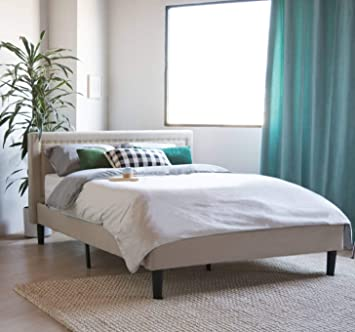 Amazon Com Divano Roma Furniture Upholstered Tufted Headboard Bed Frame 32 Tall Stitched Platform Panel Low Profile Bedframe Mattress Foundation Solid Wood Slat Base No Box Spring Needed Ivory Queen Furniture Decor