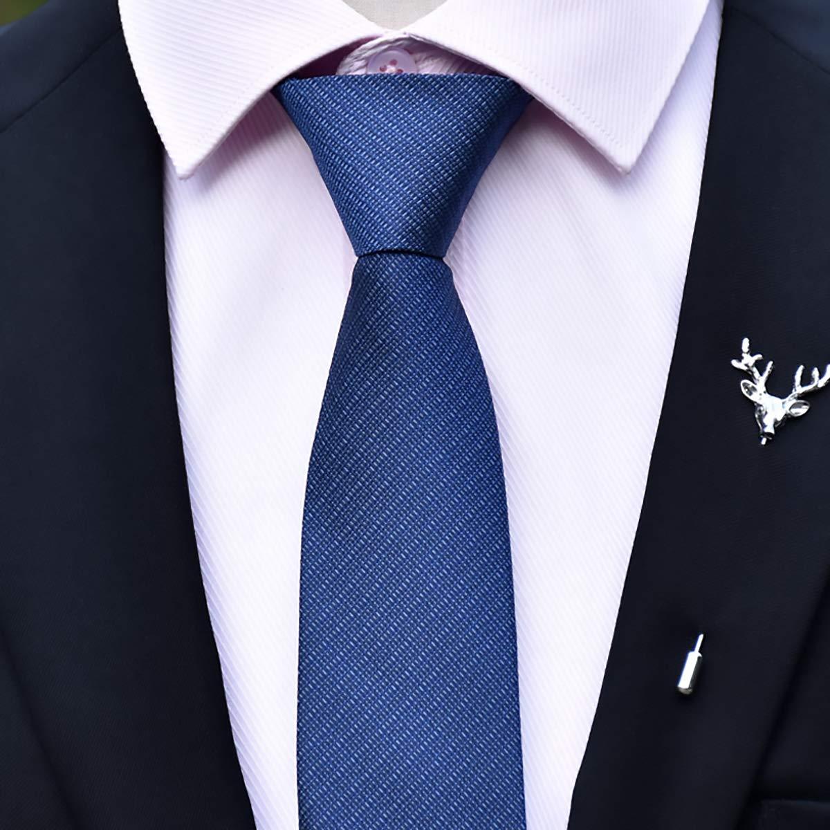 negocios corbata estrecha para hombre pre-atada a cuadros casual 6 cm azul oscuro longitud 48 cm monocolor WANYING Corbata con cremallera